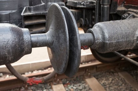 Cargo train coupling photo via Shutterstock