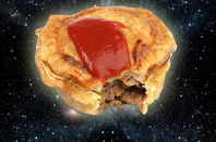 Meat pie floating in space. photo composed of several shutterstock images