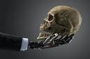 Robot hand human skull photo via Shutterstock