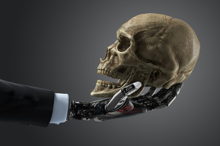 Robot hand human skull photo via Shutterstock