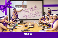 softcat's christmas card - with comedy NSFW sash added by El Reg.