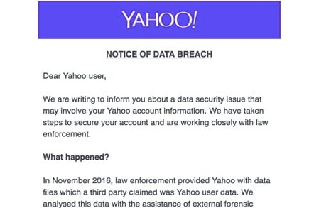 Yahoo! billion-record breach notice email