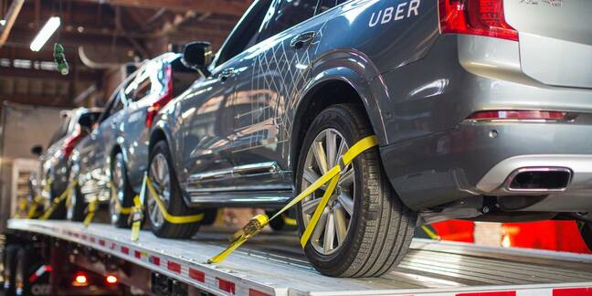 Uber self-driving car on a transport truck