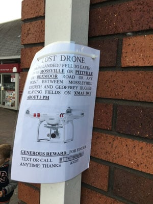Reader provided snap - lost drone. Photo by Brian Gannon