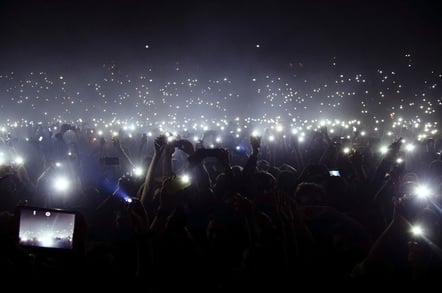 Smart phone crowd photo via Shutterstock