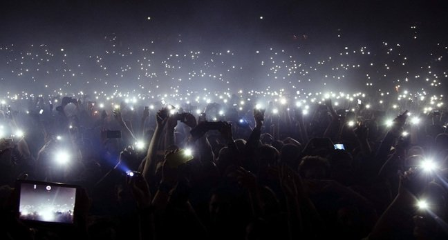 Smart phone crowd photo via Shutterstock