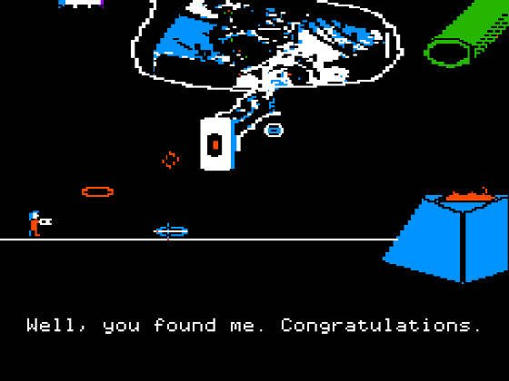 Screencap from Portal on Apple II