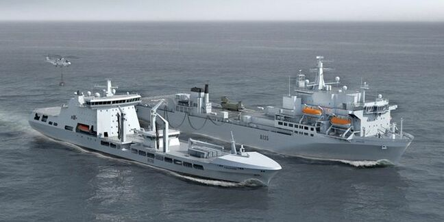 RFA Tidespring refuelling RFA Argus (right) at sea. Pic: BMT Defence Services/Royal Navy