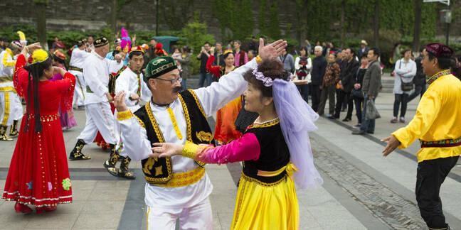 Folk dancers in china