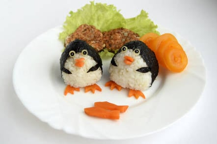 Penguin sushi with carrot. Photo by shutterstock