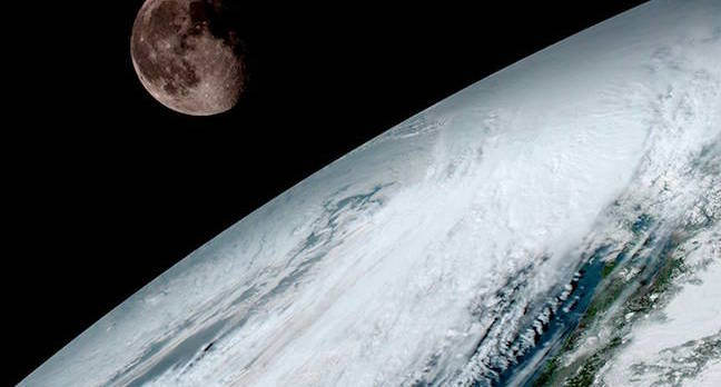 GOES-16 Earth with Moon
