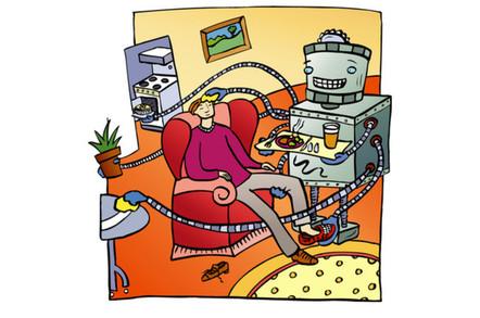 robot smart home assistant illustration