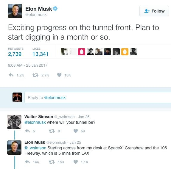 Musk to begin tunneling under LA