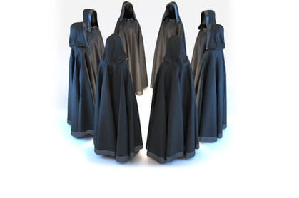 black robed individuals in a circle... scary! Photo by shutterstock