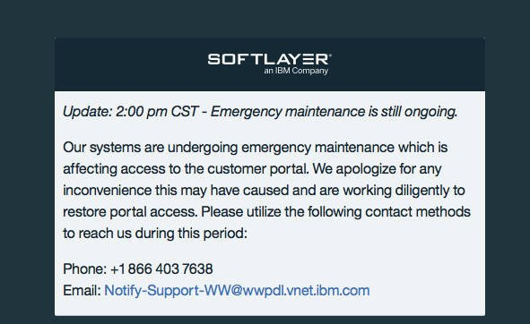 SoftLayer outage notice