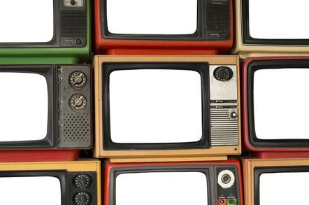 Wall of TV screens photo via Shutterstock
