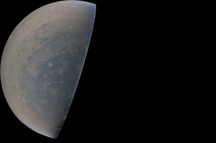 Jupiter's South pole. Image credit: NASA/JPL-Caltech/SwRI/MSSS