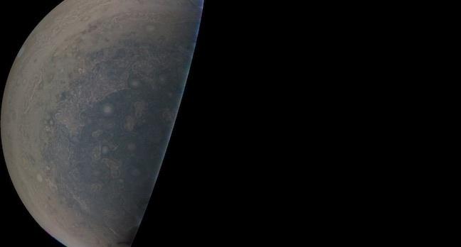 Jupiter's South pole. Image credit: NASA/JPL-Caltech/SwRI/MSSS
