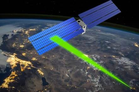 Laser communicates with satellite