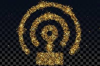 Wireless icon in gold glitter