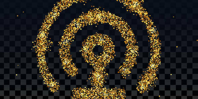 Wireless icon in gold glitter
