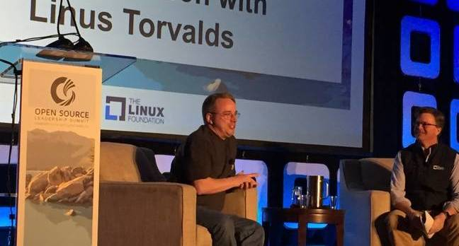 Linus Torvalds at Open Source Leadership Summit