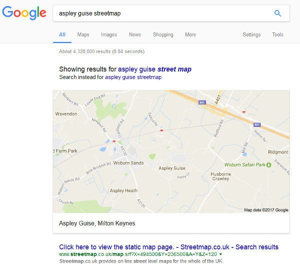 Screenshot of a Google search for Streetmap