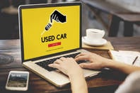 Used car on laptop