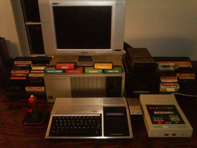 A TI-99/4A with game carts