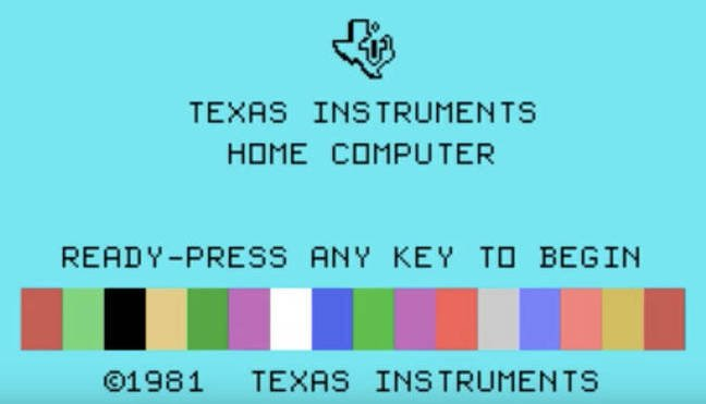A TI-99 load screen