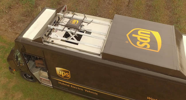UPS drone-packing delivery truck