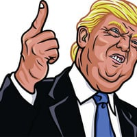 Trump characture photo via Shutterstock