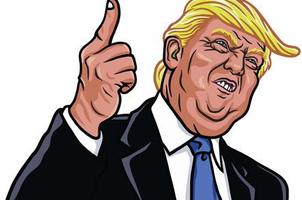 Trump characture photo via Shutterstock