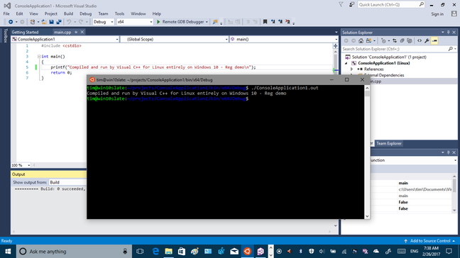 Youu can compile and debug Linux applications with Visual Studio on Windows 10