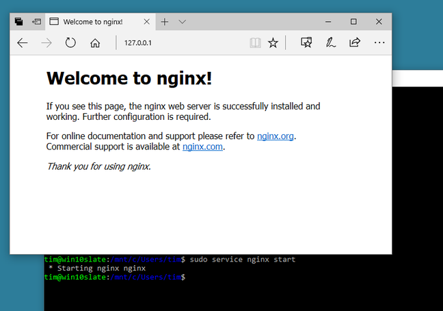 Nginx running on Windows Subsystem for Linux