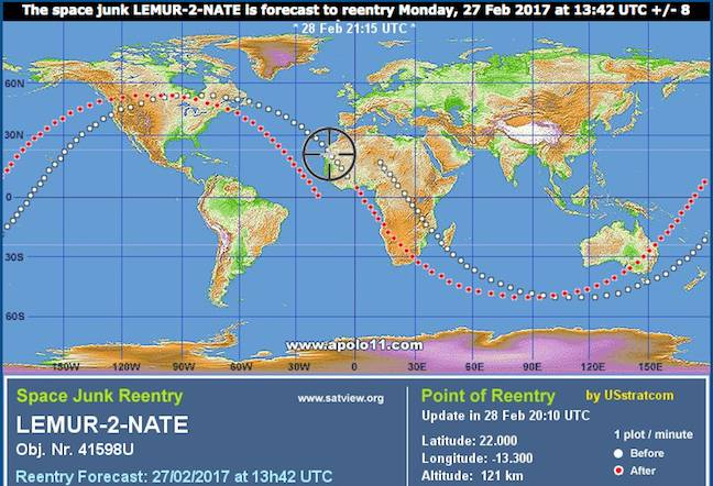 Lemur-2-NATE reentry forecast