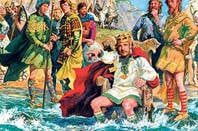 Luis Arcas Brauner's painting of King Canute (Cnut), but with tim berners lee face on it