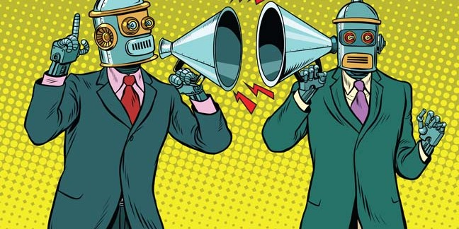 Robot talks unto robot photo via Shutterstock