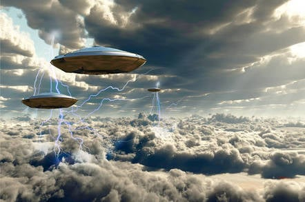 cloudy spaceship illustration. photo by shutterstock
