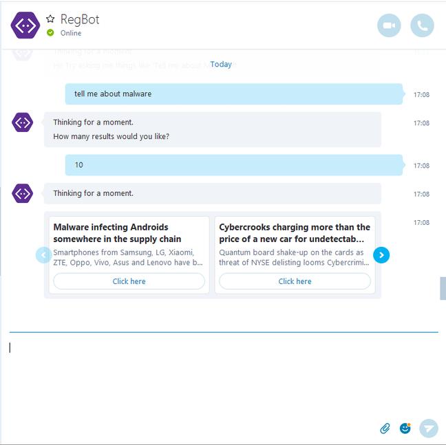 Talking to RegBot via Skype