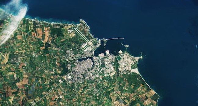 The Italian town of Brindisi and surrounds shot by ESA Sentinel B