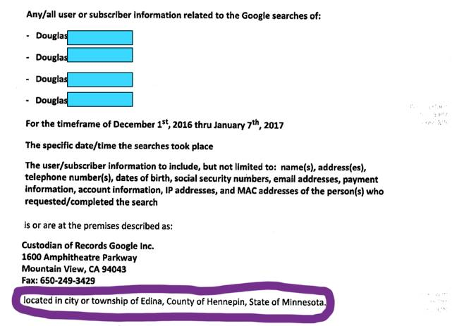Edina Police warrant seeking Google data