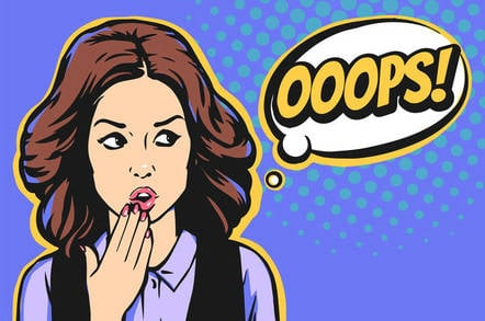 Woman says oops after data breach... or spome other mistake, possibly. Illustration by Shutterstock/sergey sobin