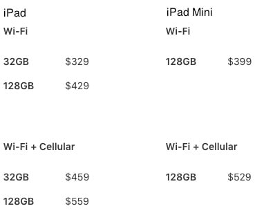 iPad prices March 2017