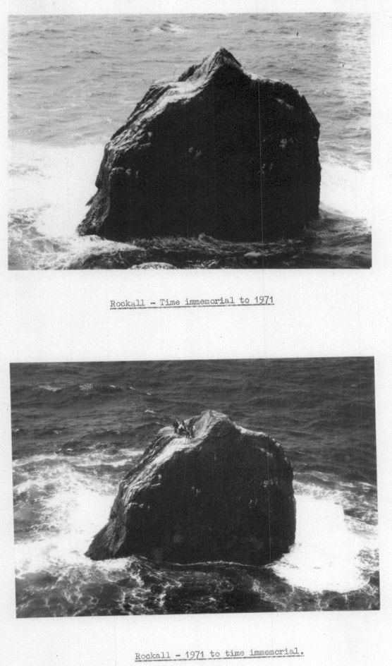 Rockall, before and after Op Top Hat. Crown copyright June 1971