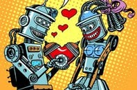 Robots in love image via Shutterstock