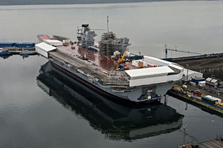 Aircraft carrier HMS Queen Elizabeth under construction in Rosyth. Crown copyright