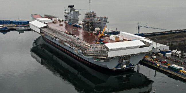 Aircraft carrier HMS Queen Elizabeth under construction in Rosyth. Crown copyright