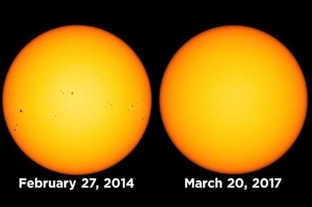 Sunspots from Feb 2017 vs March 2017