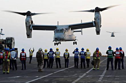 A US V-22 Osprey tiltrotor lands aboard HMS Illustrious in 2013. Crown copyright